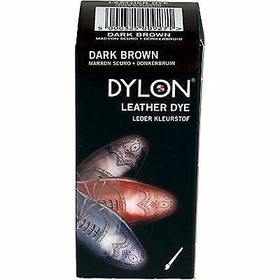 DYLON Leather Dye Shoe Boot Shoes & Applicator Fabric Brush Colour DARK BROWN • 6.61£