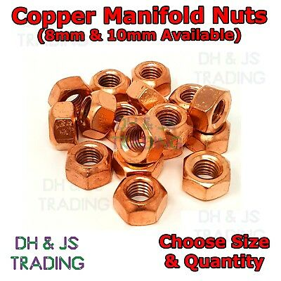 Copper Flashed Exhaust Manifold Nuts - Metric Pitch High Temperature M8 M10 Nut • 3.45£