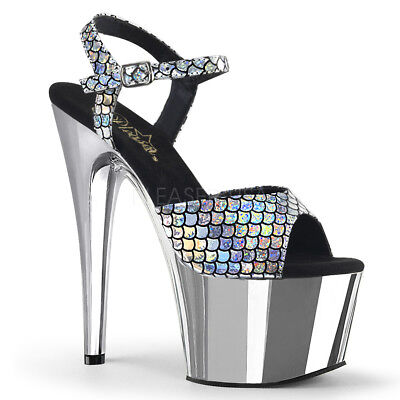 $61.95 • Buy PLEASER Sexy 7  Heel Chrome Platform Silver Hologram Ankle Strap Women's Shoes