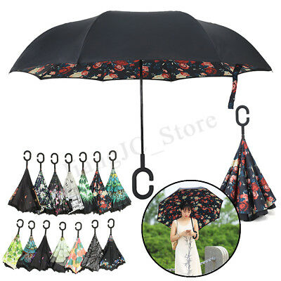 AU11.98 • Buy Reverse Umbrella C-Handle Double Layer Waterproof UV Protection Long Upside Down