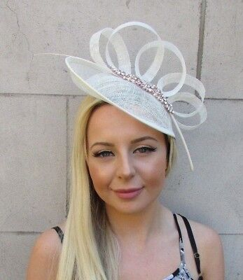 Rose Gold Cream Sinamay Disc Saucer Feather Hat Fascinator Races Wedding 5836 • 43.95£