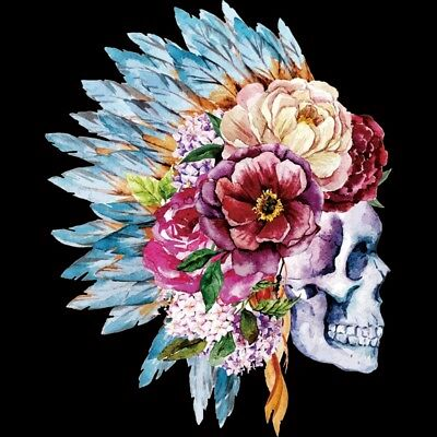 £2.92 • Buy Heat Transfer Flower Skull Pattern Iron On Patches DIY Craft Clothes Decor