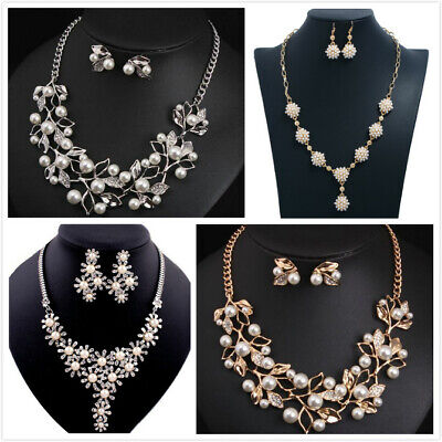 £3.99 • Buy  Crystal Faux Pearl Statement Bib Collar Wedding Necklace Chain Earring Set