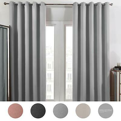 Dreamscene Eyelet Blackout Curtains PAIR Of Thermal Ring Top Ready Made Luxury • 22.99£
