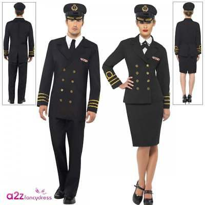 Navy Officer Costume 1940s 40's WW2 Sailor Uniform Adult Mens Womens Fancy Dress • 26.95£