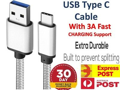 AU5.96 • Buy 3A Braided Type-C USB-C Fast Charger Cable Cord Long For Samsung S9 10 20 Note20