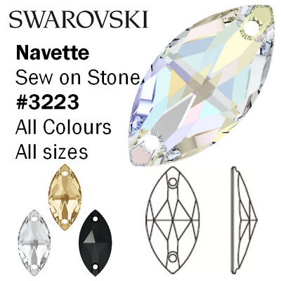 SWAROVSKI Crystal 3223 Navette - Sew On Stone - All Colours • 16.78£