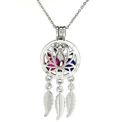 $ CDN2.66 • Buy K731 Lotus Flower Dream Catcher No Oyster Locket Beads Cage Stainless Necklace