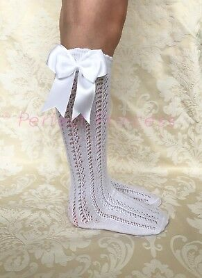 Spanish/Romany Knee High Openwork Double Bow Socks, Girls/Baby/Summer/School • 5.95£
