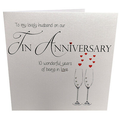 10th Tin Wedding Anniversary Card For Husband, Handmade With Crystals • 3.70£