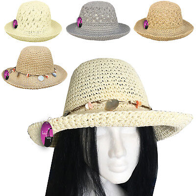 Ladies Straw Hat Sun Women Summer Beach Holiday Crushable Packable Foldable  • 7.99£