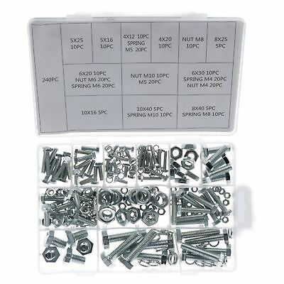 240pc Nuts And Bolts Spring Washers Metric M4 - M10 Hex Head Steel Full Thread • 10.20£