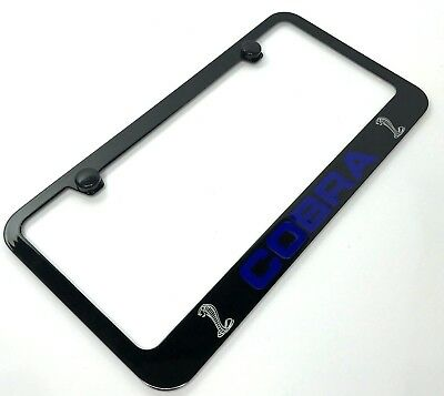 Cobra License Plate Frame For Shelby GT500 GT350 Ford Mustang (Black & Blue)  • 29.95$