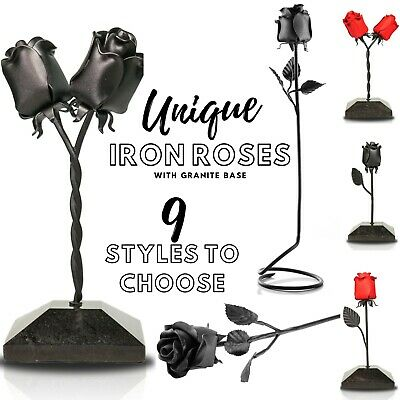 £35.45 • Buy 6th Iron Wedding Anniversary Gift For Her Forged Black Iron Rose Flower UK 6 Six