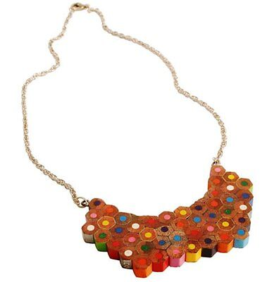 Recycled Pencil Crayon Statement Piece Necklace Choker Handmade Eco Jewellery • 9.99£