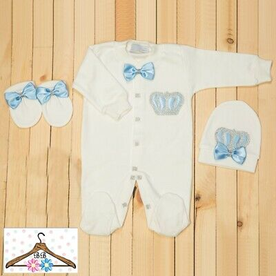 Personalise Baby Boy Girl Diamante Crown Bows Baby Grow Romper Suit Outfit • 21.99£