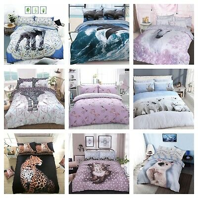 New Various Animal Print Duvet Cover Bedding Quilt Set And Pillowcases All Sizes • 7.49£