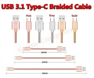 AU11.50 • Buy Braided USB-C Adapter Cable Data Sync Power Charger Cord For OnePlus 6 5 5T 3T 3