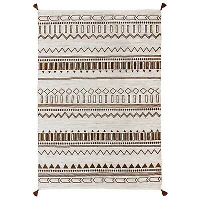 £59.99 • Buy Moroccan Tribal Ethnic Design Printed BROWN Cream Cotton Durrie Flat Weave Rugs