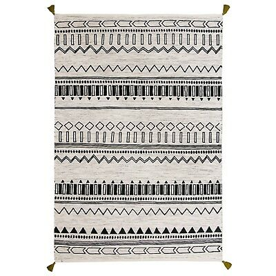£99.99 • Buy Moroccan Tribal Ethnic Design Printed GREEN Cream Cotton Durrie Flat Weave Rugs