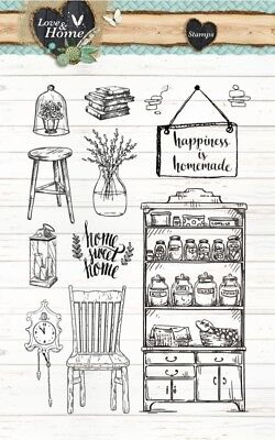 STUDIO LIGHT Clear Stamps LOVE & HOME 125 STAMPLH125 A6 Chair Stool Plant Books • 9.45£