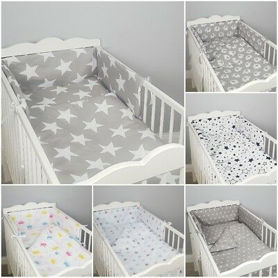 3 Pc LUXURY COT/COT BED BABY BEDDING SET Bumper Quilt Pillowcase GREY PINK STARS • 15.99£