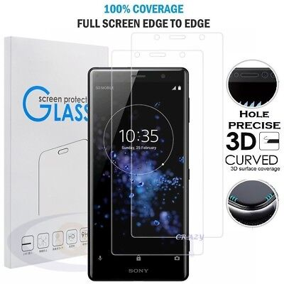 AU6.49 • Buy 3D Full Coverage Tempered Glass Screen Protector For Sony Xperia XZ2 XZ Premium