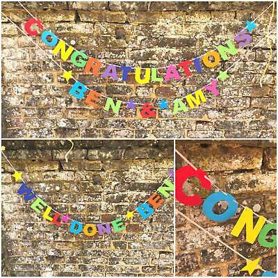 Personalised Congratulations Banner Wedding Engagement New Home Graduation Exams • 5.39£