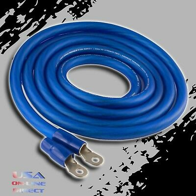 AU50.60 • Buy 0 Gauge 10ft BLUE Power OFC Wire Strands Copper Hi-Voltage Marine Cable 1/0 AWG