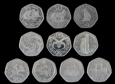 Guernsey Gibraltar Jersey Falklands Isle Of Man 50p Territories Fifty Pence Coin • 2.49£