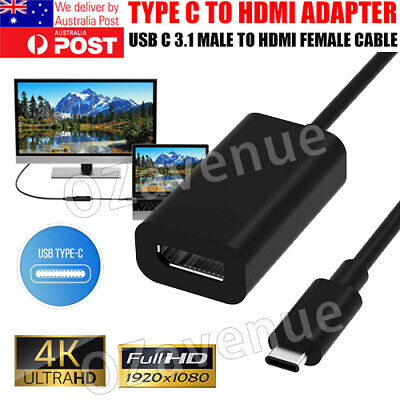 AU8.95 • Buy 4K Type C To HDMI Adapter 30Hz USB C 3.1 Male To HDMI Female Cable FOR MACBOOK