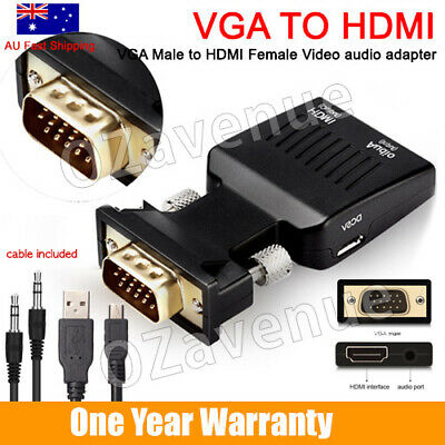 AU10.69 • Buy VGA Male To HDMI Female Converter Adapter 1080P Stereo Audio Output AU Stock