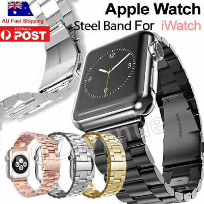 AU13.95 • Buy Stainless Steel Link Bracelet Strap Watch Band For Apple Watch IWatch 44mm/40mm