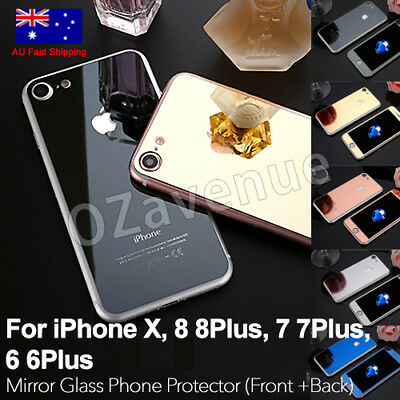 AU5.89 • Buy Colour Mirror Tempered Glass Screen Protector IPhone 6 Plus 7 8 X Front Back Set