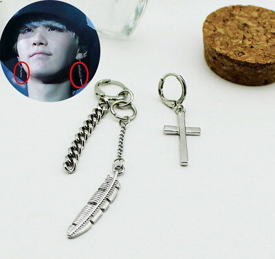 Kpop SUGA Feather&Cross Bangtan Boys Earrings Chic Ear Stud FR680 • 3.99£