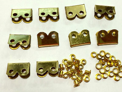 WWI WWII BRASS Hardware Suitable For P08 P37 Webbing Set ENDS / TIPS Set Of 10 • 30£
