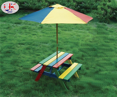 £48.98 • Buy Children's Wooden Rainbow 2 In 1 Kids Picnic Table And Parasol Set