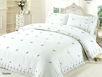 Belle Maison Sophie White Quilt Cover Floral Rose Embroidery Lace Bedding Set • 28.99£