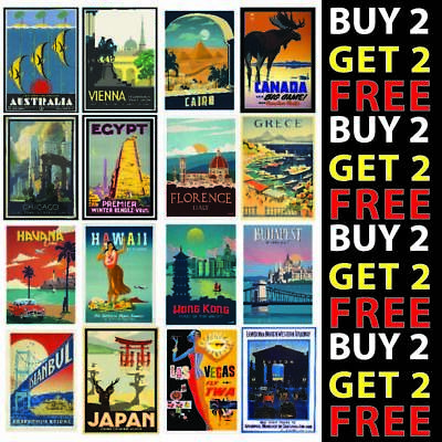 Vintage Retro Travel Holiday Posters A4/a3 300gsm High Quality Gloss Card • 6.99£