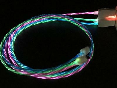 $8.97 • Buy CANDY FLOW LIGHT-UP 3FT LED USB Charger Cable FOR Samsung Lg HTC VAPOR MICRO USB