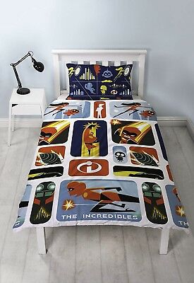 £12.69 • Buy The Incredibles 2 'Retro' Rotary Single Bed Duvet Quilt Cover Set Brand New