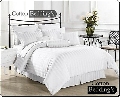 FREE SHIPPING Duvet Cover+ 2pc Pillow Cases 1000 TC All UK Sizes White Striped • 51.69£