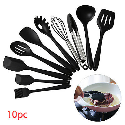 £8.99 • Buy 10PC Silicone Kitchen Utensils Cookware Set Nonstick Baking Cooking Spoon Tools