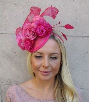 Cerise Hot Pink Sinamay Rose Flower Feather Hat Fascinator Races Hair 5922 • 31.95£