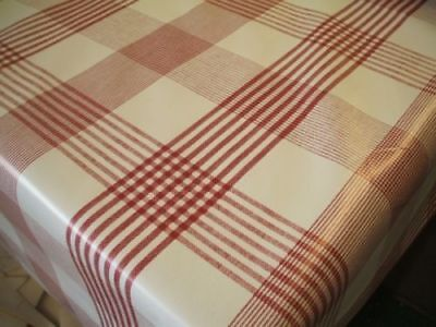 £6.99 • Buy Check Red PVC Vinyl Wipe Clean Oilcloth Tablecloth