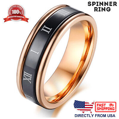 $8.96 • Buy Women's Anxiety Spinner Ring, Stainless Steel Roman Numerals 6mm Wedding Band