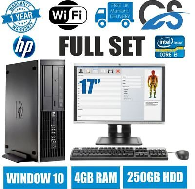 HP ELITE 8200 I3 2100 3.1GHz DESKTOP PC LCD Tower COMPUTER WIN10 4GB 250GB HDD • 89.99£