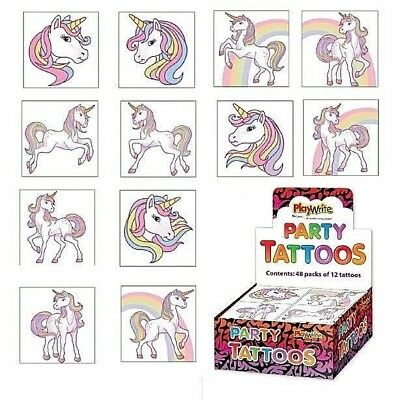 £1.39 • Buy Unicorn Temporary Tattoos Girls Kids Childrens Party Bag Fillers (12 In A Pack)