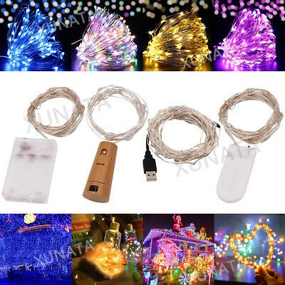20/50/100 LED Fairy String Lights Battery/USB Micro Rice Wire Party Xmas Decor • 1.99£