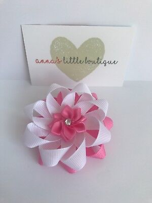 Pink And White Flower Girls Hair Bow Clip With Pink Satin Flower Centre Handmade • 2£
